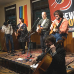 Joshua Garcia, Sophie Buskin, David Buskin, Aaron Nathans, Michael Rondstadt performing on January 18, 2020 at the New Moon Coffeehouse, Haverhill, MA